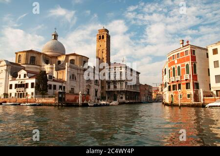 Grand Canal in Venice in front of the St. Lucia church from public transportation 'Vaporetto' during a regular trip from Piazzale Roma Stock Photo