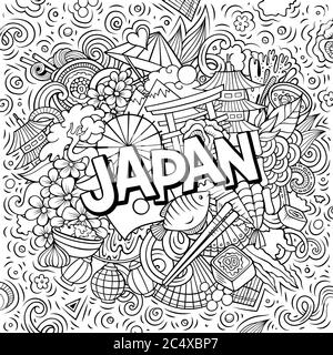 Japan hand drawn cartoon doodles illustration. Funny travel design. - Stock Photo