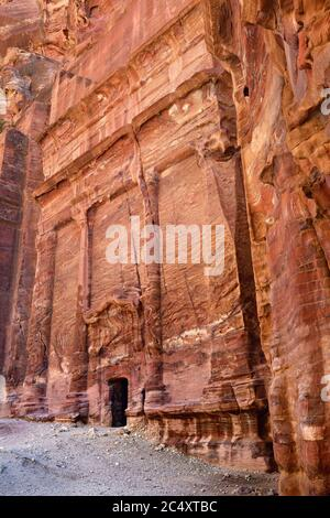 Tombs that are called The street of facades in Petra, Jordan - Stock Photo
