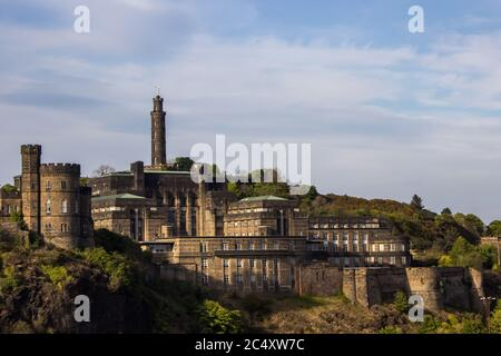 St Andrews house on Calton hill as seen from the Waverly Train Station, Edinburgh, with the Nelson tower in the background - Stock Photo