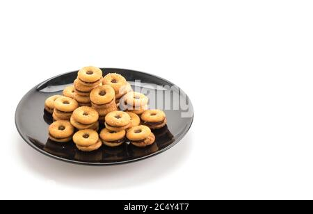 biscuit with pineapple jam on white