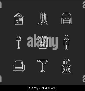 Home comfort chalk white icons set on black background - Stock Photo