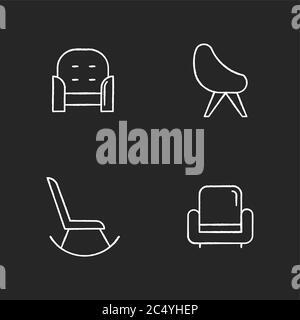 Chair variety chalk white icons set on black background - Stock Photo