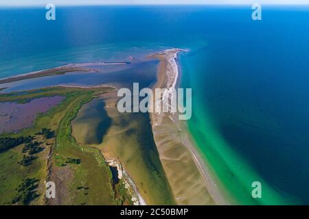 Baltic sea, Germany, Mecklenburg-Western Pomerania, Darß, Prerow, aeriel view of seaside - Stock Photo