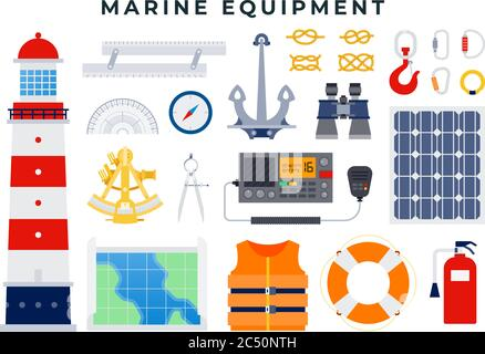 Vector set of nautical and marine icons in flat style, isolated on white background. - Stock Photo
