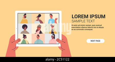 human hands using tablet pc chatting with mix race friends during video call people having virtual live conference communication self isolation concept horizontal copy space vector illustration - Stock Photo