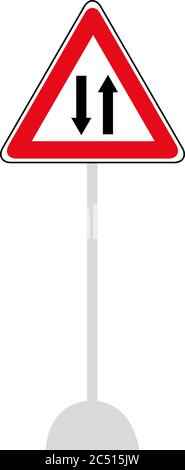 Vector Regulatory signs of Give way to oncoming vehicles isolated on white background. Traffic Sign. Road signs. - Stock Photo