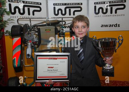 Williams F1 driver George Russell in his early Karting career. - Stock Photo