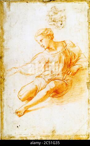 Studio di figura seduta per la Madonna d'Alba (Study for a seated figure for the Alba Madonna) by Raffaello Sanzio known as Raffaello (1483-1520) about 1510-1511 Penna e Pietra rossa Pen and Red chalk - Stock Photo