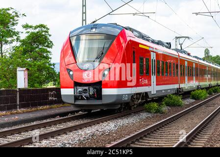 Koblenz Germany, 22 June 2020. An electric passenger train belonging to the Deutsche Bahn AG carrier, arriving at a small railway station in Koblenz i
