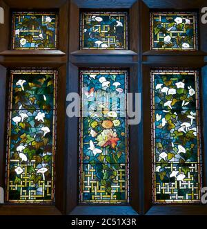 Arts and Crafts style stained glass window by John La farge originally in William Watts Sherman House, Boston Museum of Fine Arts, MA,  USA - Stock Photo