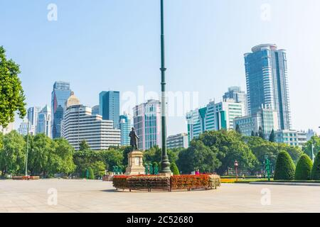GUANGZHOU, CHINA, 18 NOVEMBER 2019: Skyscrapers from the park of Sun Yat Sen - Stock Photo