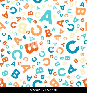 Seamless vector pattern - different letters ABC. Colorful school pattern for children. Multicolor background for kids. - Stock Photo