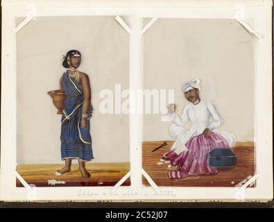Indian - Leaf from Bound Collection of 20 Miniatures Depicting Village Life - Stock Photo