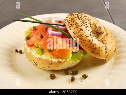 Smoked salmon with cream cheese bagel sandwich - Stock Photo