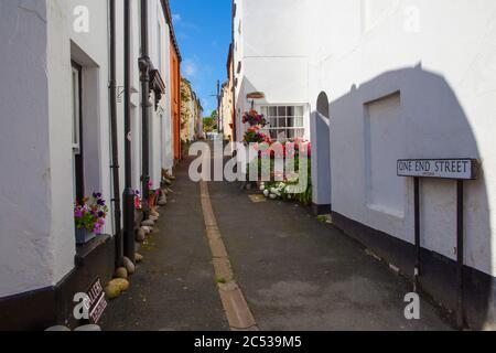 One End Street, a narrow street in Appledore, North Devon - Stock Photo