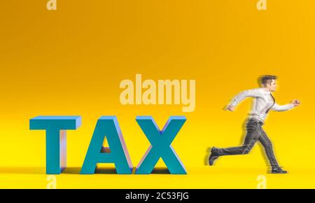 businessman escapes from the taxes inscription. unsustainable tax burden concept. - Stock Photo