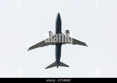 Seattle, Washington DC, USA. 30th June 2020. A Boeing 737 MAX 7 takes off at Boeing Field for a critical test flight in Seattle on Tuesday, June 30, 2020. The flight, the second of three scheduled with an FAA pilot on board, is key to certification of the plane since its worldwide grounding in 2019 after two deadly crashes. Credit: Paul Christian Gordon/Alamy Live News - Stock Photo