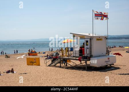 RNLI beach patrol, Exmouth Devon - Stock Photo