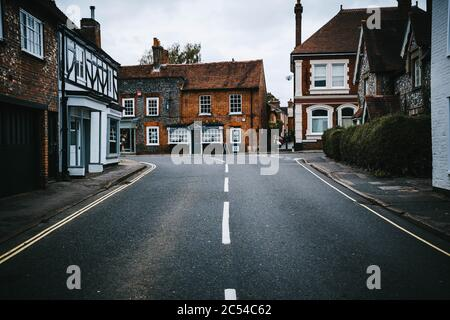Empty street in the historic village of Wickham in Hampshire, United Kingdom on a cloudy, moody day