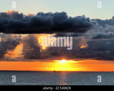 Amazing sunrise over the atlantic ocean in Malta - Stock Photo