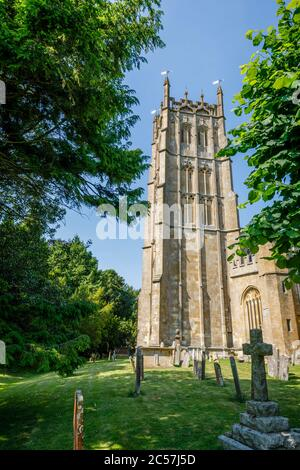 Exterior of Gothic architecture traditional parish wool church of St James in Chipping Campden, a small market town in the Cotswolds, Gloucestershire