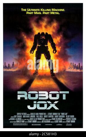 Robot Jox (1989) directed by Stuart Gordon and starring Gary Graham, Anne-Marie Johnson, Paul Koslo and Michael Alldredge. After a devastating nuclear war future conflicts are determined in one on one fights between giant robots piloted by onboard robot jockeys or jox. - Stock Photo