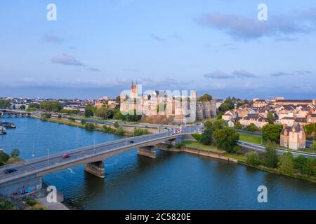France, Maine et Loire, Angers, Pont de la Basse Chaine over the Maine River and Chateau d'Angers (aerial view) // France, Maine-et-Loire (49), Angers