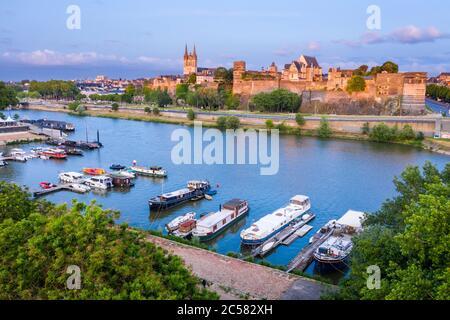 France, Maine et Loire, Angers, Port de la Savatte on the Maine River and the Chateau d'Angers (aerial view) // France, Maine-et-Loire (49), Angers, c
