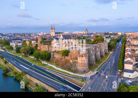 France, Maine et Loire, Angers, the Chateau d'Angers and the Maine River (aerial view) // France, Maine-et-Loire (49), Angers, château d'Angers ou châ