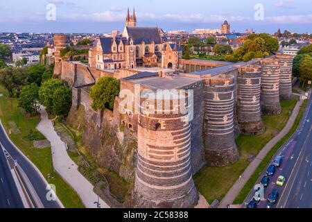 France, Maine et Loire, Angers, the Chateau d'Angers (aerial view) // France, Maine-et-Loire (49), Angers, château d'Angers ou château des ducs d'Anjo