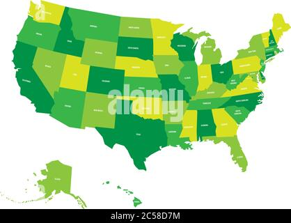 Map of United States of America, USA, in four shades of green with white state labels. Simple flat vector illustration isolated on white background. Stock Photo
