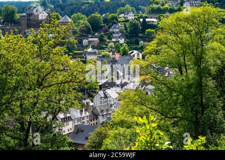 Skyline of the town of Monschau, in the Eifel region, half-timbered houses, NRW, Germany - Stock Photo