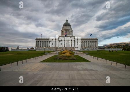 Forboding sky over Capitol building in Salt Lake City, Utah - Stock Photo