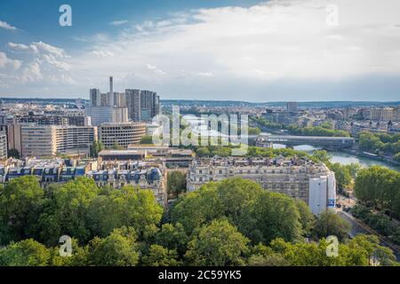 Paris, France - 25 06 2020: View of Paris from Eiffel Tower