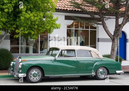 Classic Mercedes car in Carmel-By-The-Sea,Monterey County,California,USA - Stock Photo