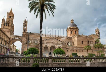 Palermo Cathedral is connected, through two pointed arches, with the Archbishop's Palace, making the church look like a castle, Palermo, Sicily, Italy