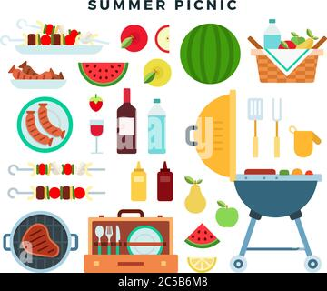 Summer picnic party, icons set. Barbeque elements, food, drinks, picnic basket, cooking utensils. Vector illustration. - Stock Photo