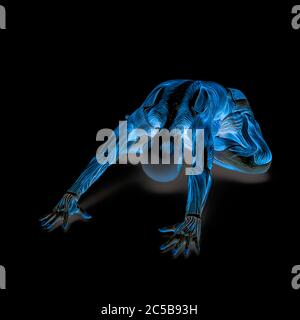 muscle woman doing a child pose in white background 3d