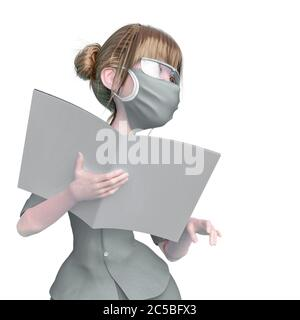 nurse cartoon is holding a book and is also giving instructions in white background, 3d illustration - Stock Photo