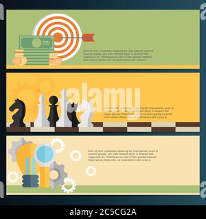Flat vector illustration backgrounds set. Target, coins and chess. Management and achievements.  Business planning and strategy - Stock Photo