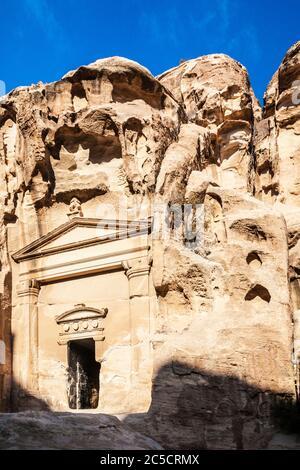 Temple at the Beginning of Siq Al-Barid or Little Petra in Jordan - Stock Photo