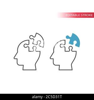 Human head with jigsaw puzzle piece, idea concept thin line vector icon. Outline, editable stroke.