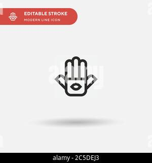 Hamsa Simple vector icon. Illustration symbol design template for web mobile UI element. Perfect color modern pictogram on editable stroke. Hamsa icons for your business project - Stock Photo