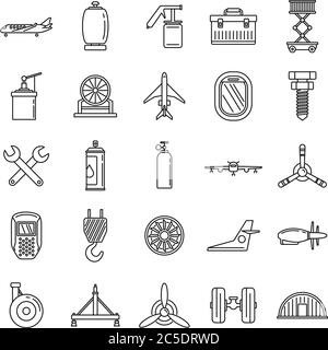 Industry aircraft repair icons set. Outline set of industry aircraft repair vector icons for web design isolated on white background - Stock Photo