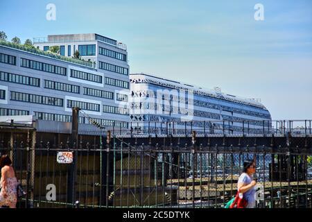Paris, France - June 28, 2015: Eco-Quartier Clichy-Batignolles. New Modern Architecture. Blue sky. Summer sunny day - Stock Photo