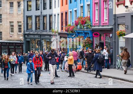 Colorful shopfronts at Victoria Street in Edinburgh Old Town