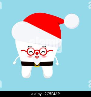 Chistmas cute tooth in Santa Claus costume - red hat icon in cartoon flat style isolated on white background.