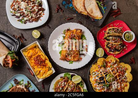 Variety of colorful dishes from typical Mexican cuisine. Top view - Stock Photo