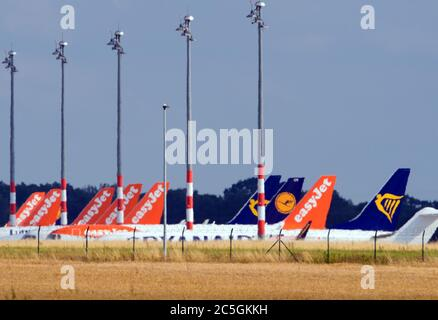 02 July 2020, Brandenburg, Schönefeld: Aircraft from the airlines easyJet, Lufthansa and Ryanair are parked next to the airport tarmac behind a cornfield. Photo: Soeren Stache/dpa-Zentralbild/ZB - Stock Photo